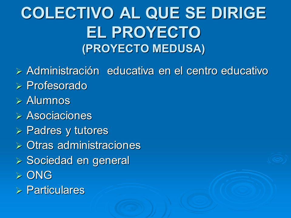 COLECTIVO AL QUE SE DIRIGE EL PROYECTO (PROYECTO MEDUSA) Administración educativa en el centro educativo Administración educativa en el centro educati