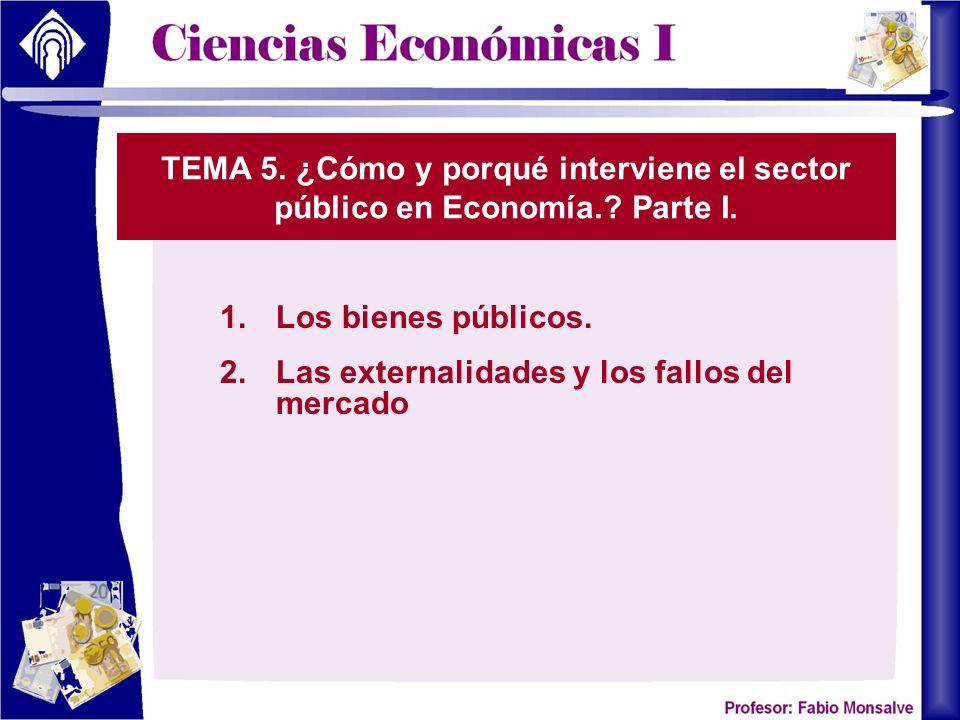 TEMA 5. ¿Cómo y porqué interviene el sector público en Economía.? Parte I. 1.Los bienes públicos. 2.Las externalidades y los fallos del mercado