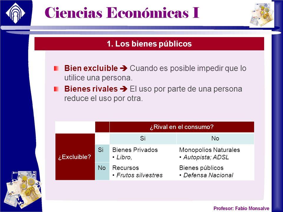 1.Los bienes públicos Bienes privados Bienes que son excluibles y rivales en el consumo.