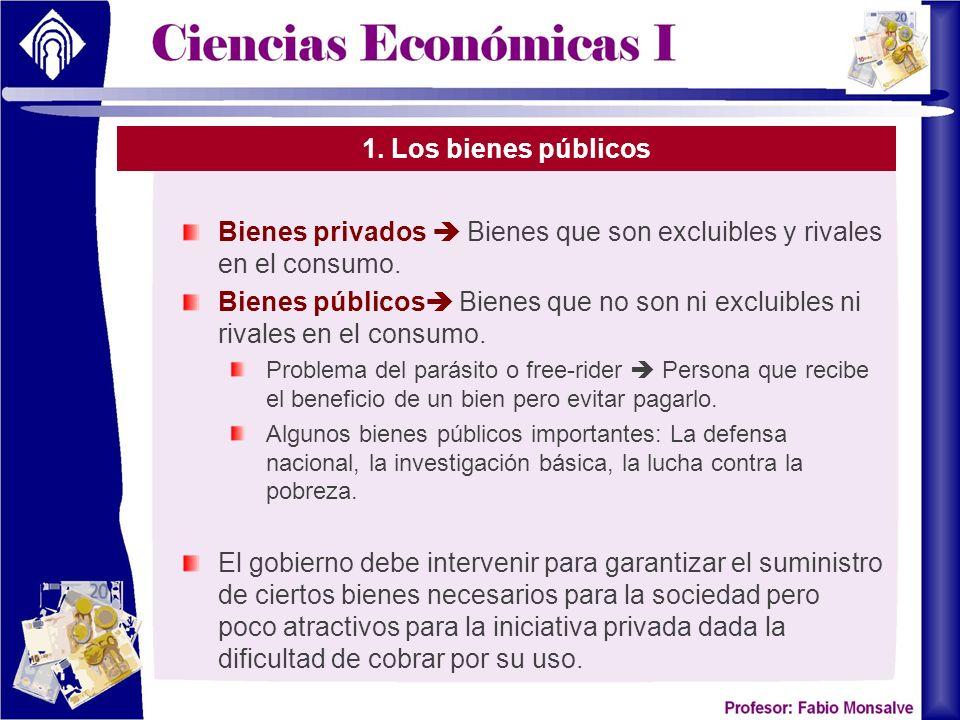 1. Los bienes públicos Bienes privados Bienes que son excluibles y rivales en el consumo. Bienes públicos Bienes que no son ni excluibles ni rivales e