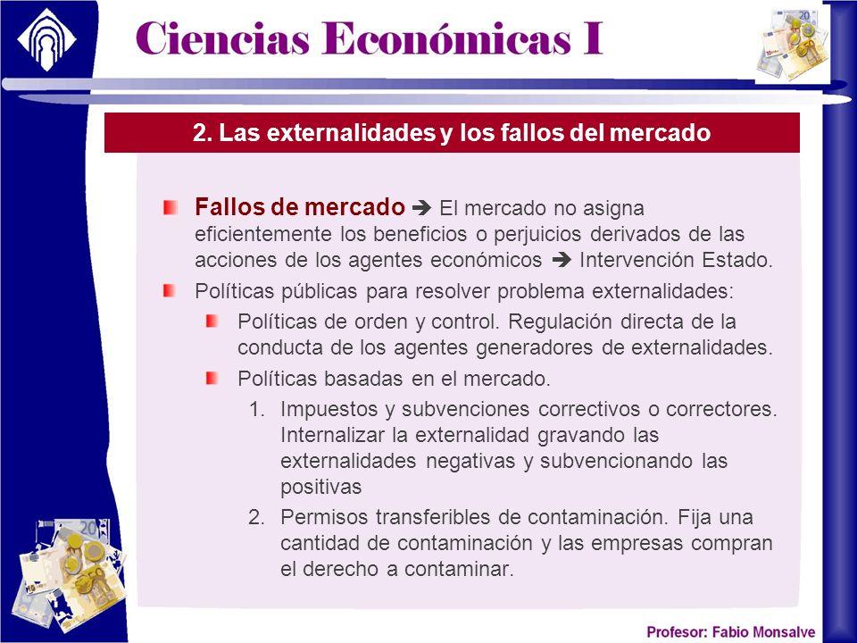 2. Las externalidades y los fallos del mercado Fallos de mercado El mercado no asigna eficientemente los beneficios o perjuicios derivados de las acci