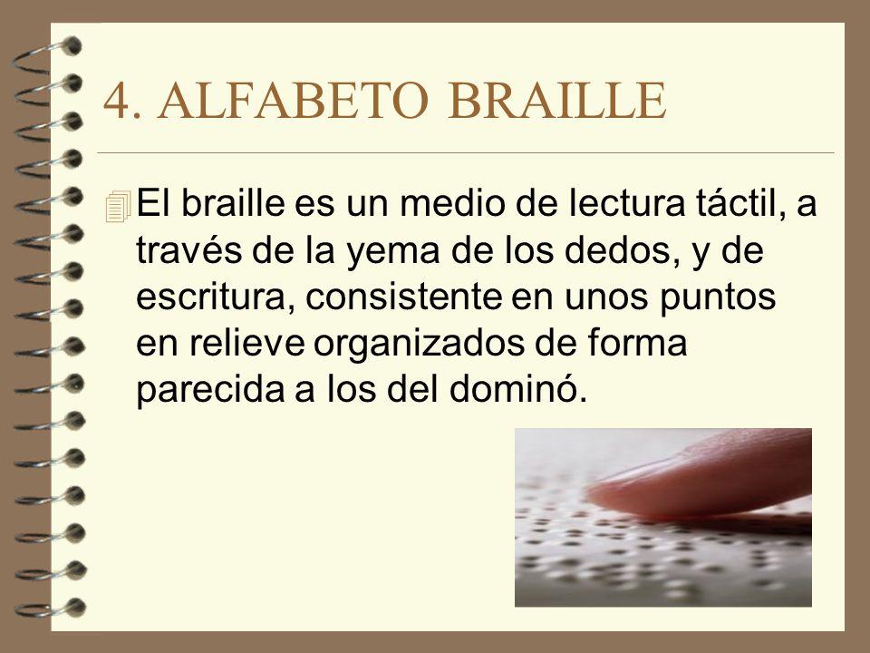 4. ALFABETO BRAILLE 4 El braille es un medio de lectura táctil, a través de la yema de los dedos, y de escritura, consistente en unos puntos en reliev