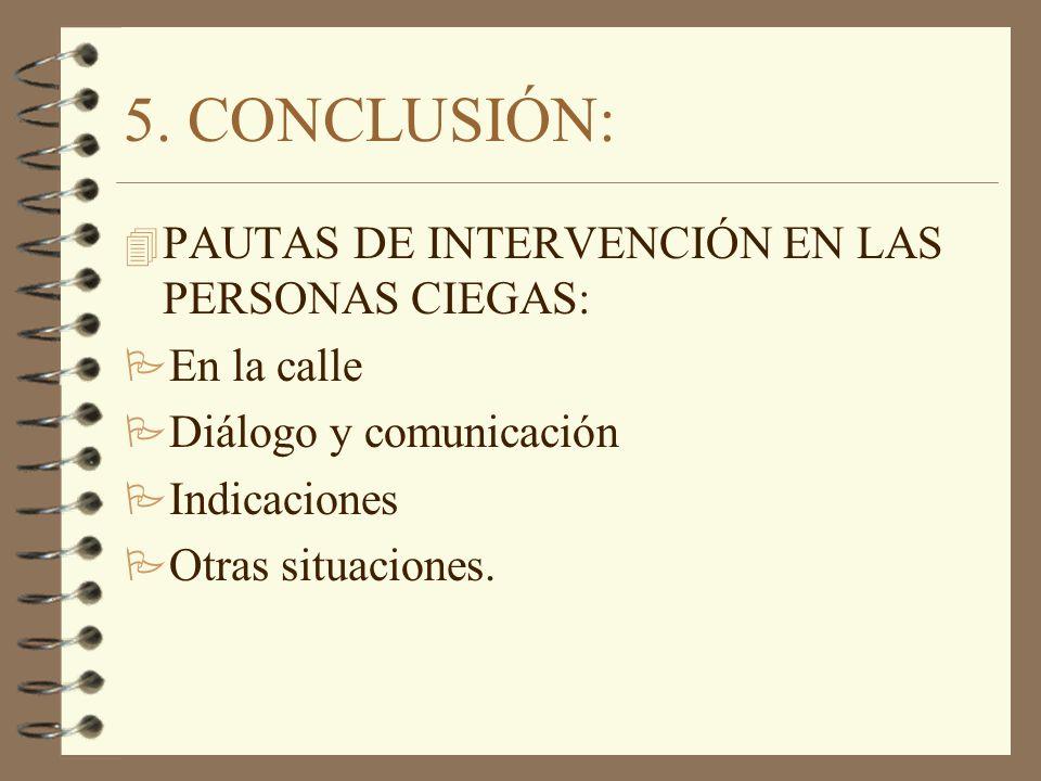 5. CONCLUSIÓN: 4 PAUTAS DE INTERVENCIÓN EN LAS PERSONAS CIEGAS: P En la calle P Diálogo y comunicación P Indicaciones P Otras situaciones.