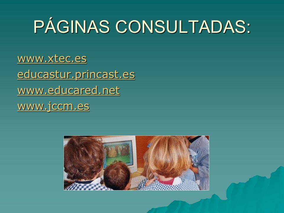 PÁGINAS CONSULTADAS: www.xtec.es educastur.princast.es www.educared.net www.jccm.es