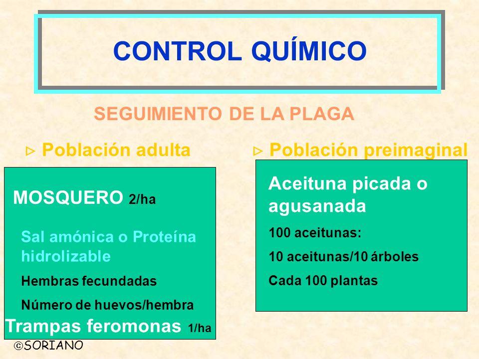 SORIANO SEGUIMIENTO DE LA PLAGA Población adulta Población preimaginal CONTROL QUÍMICO MOSQUERO 2/ha Sal amónica o Proteína hidrolizable Hembras fecun