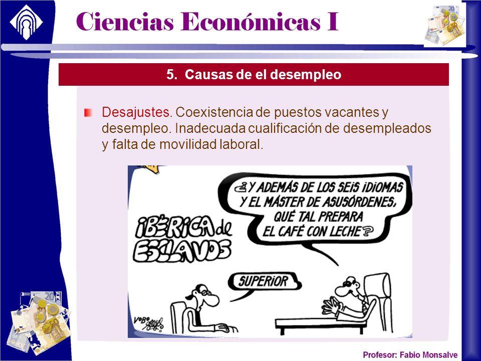 5.Causas de el desempleo Desajustes. Coexistencia de puestos vacantes y desempleo.