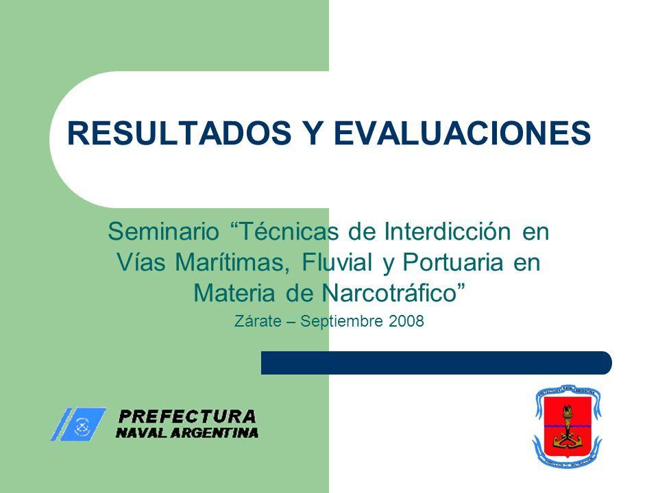 RESULTADOS Y EVALUACIONES Seminario Técnicas de Interdicción en Vías Marítimas, Fluvial y Portuaria en Materia de Narcotráfico Zárate – Septiembre 2008