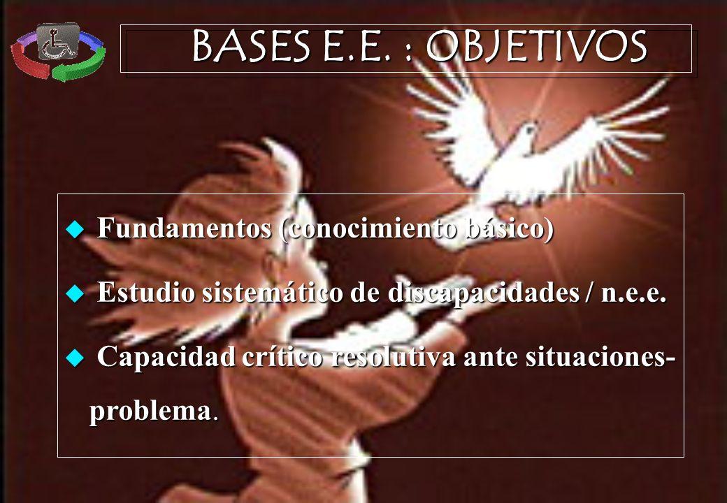 BASES E.E. : OBJETIVOS Fundamentos (conocimiento básico) Fundamentos (conocimiento básico) Estudio sistemático de discapacidades / n.e.e. Estudio sist