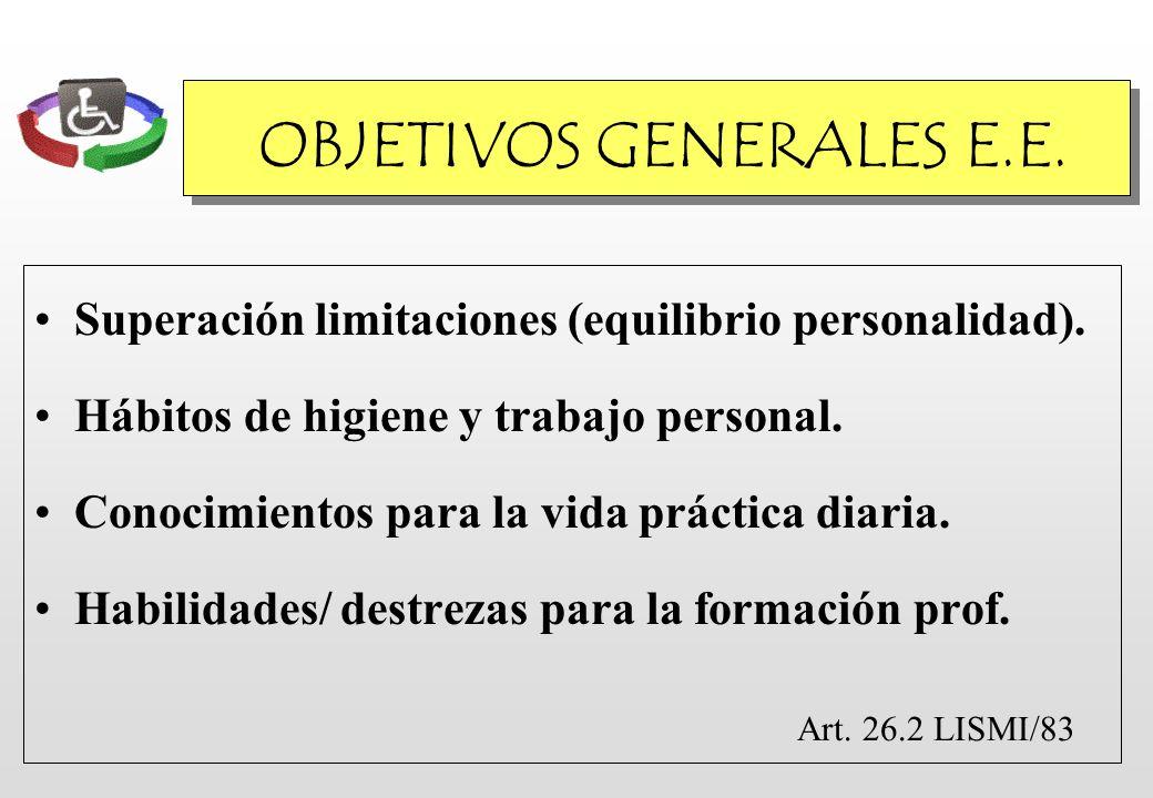 OBJETIVOS GENERALES E.E. Superación limitaciones (equilibrio personalidad). Hábitos de higiene y trabajo personal. Conocimientos para la vida práctica