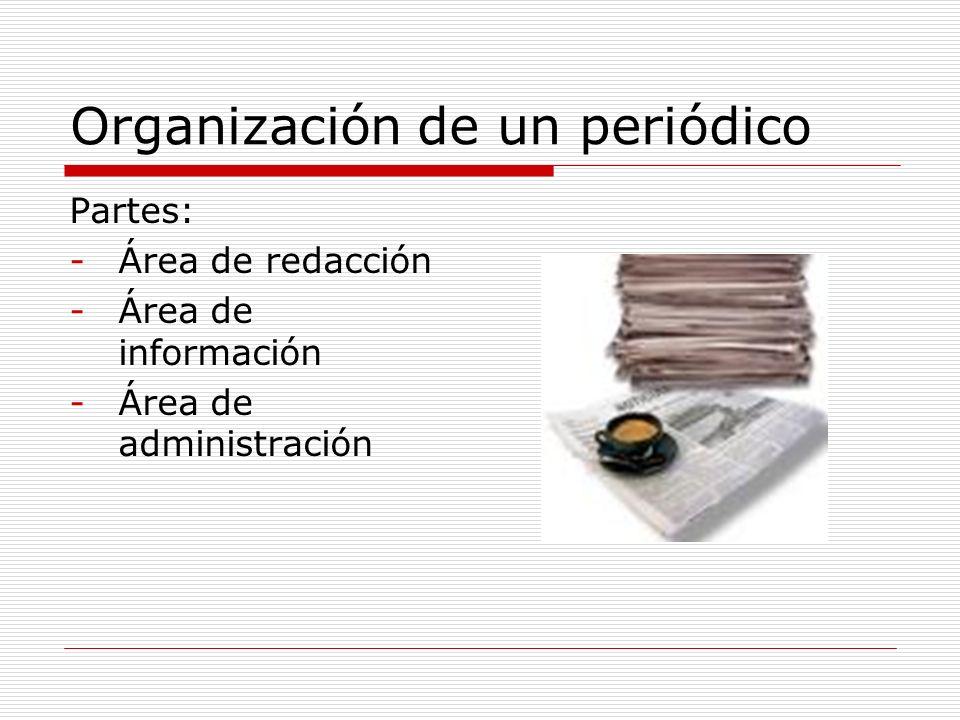 Organización de un periódico Partes: -Área de redacción -Área de información -Área de administración