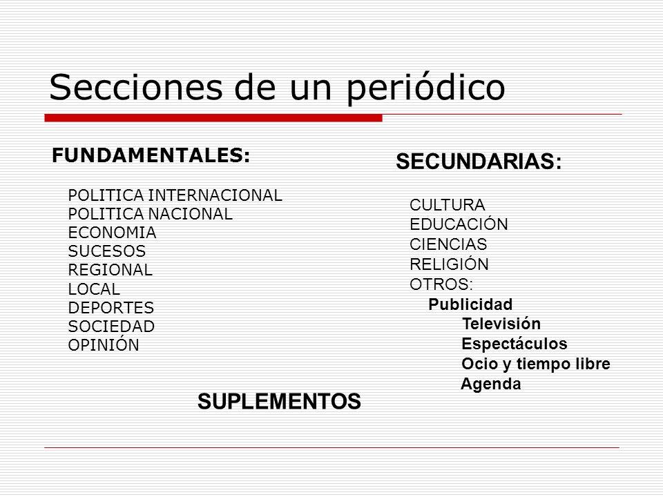 Secciones de un periódico FUNDAMENTALES: POLITICA INTERNACIONAL POLITICA NACIONAL ECONOMIA SUCESOS REGIONAL LOCAL DEPORTES SOCIEDAD OPINIÓN SECUNDARIA