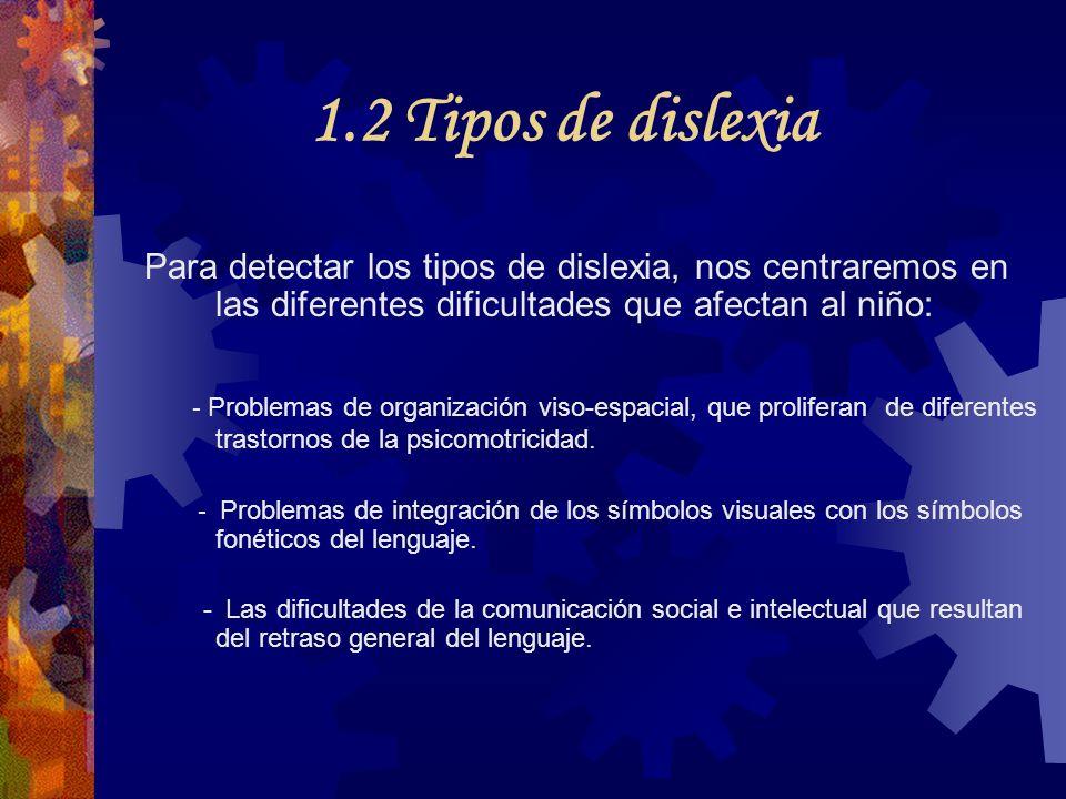 1.2 Tipos de dislexia Para detectar los tipos de dislexia, nos centraremos en las diferentes dificultades que afectan al niño: - Problemas de organiza