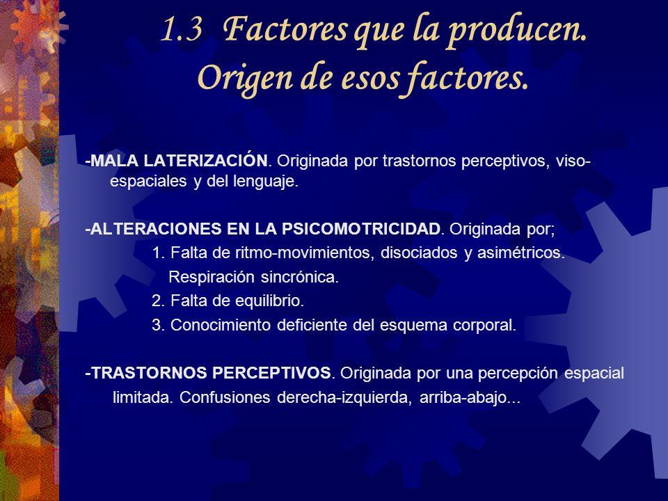 1.3 Factores que la producen. Origen de esos factores. -MALA LATERIZACIÓN. Originada por trastornos perceptivos, viso- espaciales y del lenguaje. -ALT