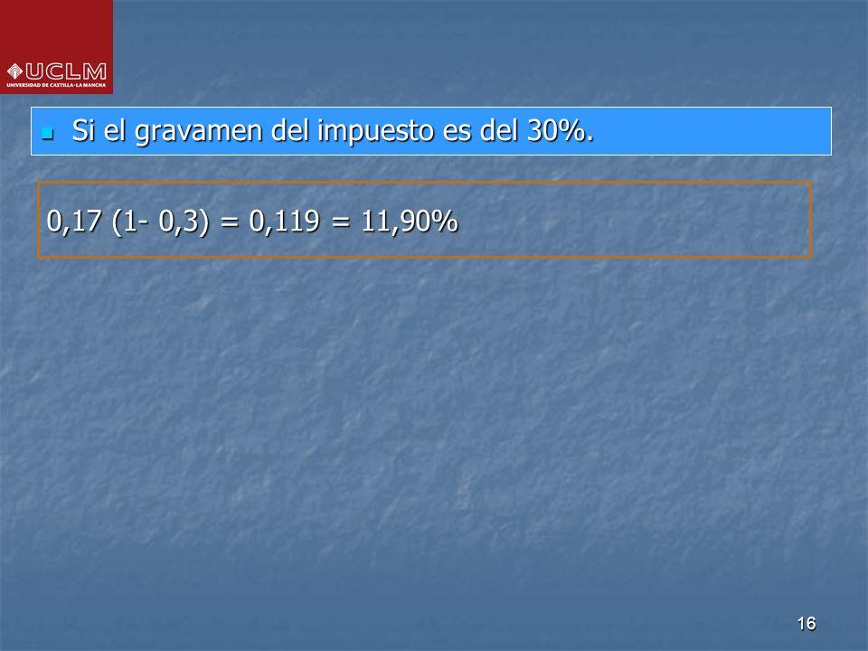 16 Si el gravamen del impuesto es del 30%. Si el gravamen del impuesto es del 30%. 0,17 (1- 0,3) = 0,119 = 11,90%