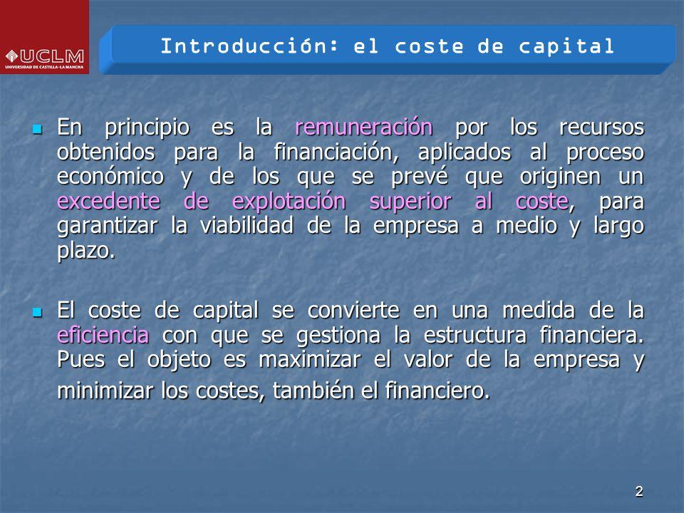 3 El coste de capital es: El coste de capital es: L a mínima tasa de rentabilidad a la que se deberá remunerar a las diversas fuentes financieras, con objeto de mantener a sus inversores satisfechos evitando, al mismo tiempo que descienda el valor de mercado de sus acciones.