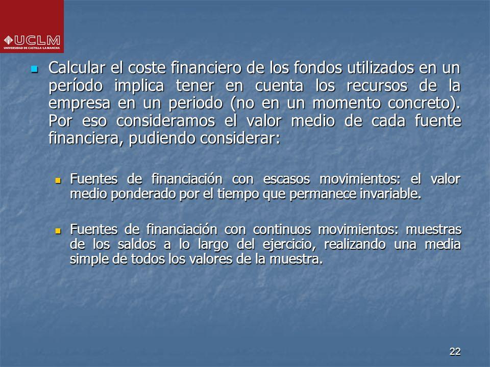 22 Calcular el coste financiero de los fondos utilizados en un período implica tener en cuenta los recursos de la empresa en un periodo (no en un mome