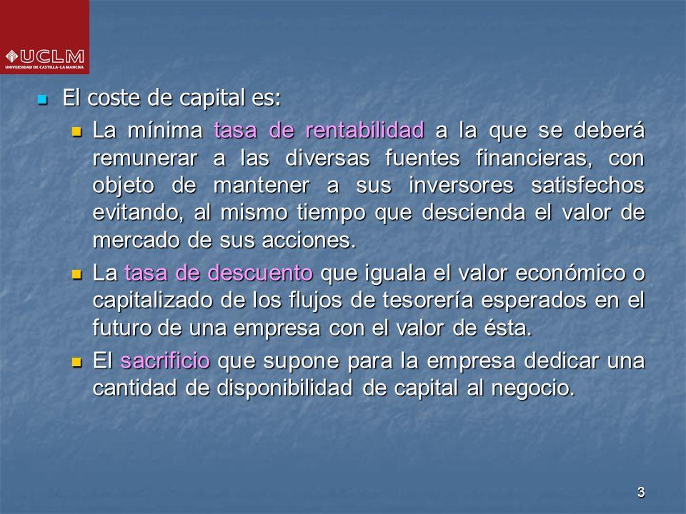 3 El coste de capital es: El coste de capital es: L a mínima tasa de rentabilidad a la que se deberá remunerar a las diversas fuentes financieras, con