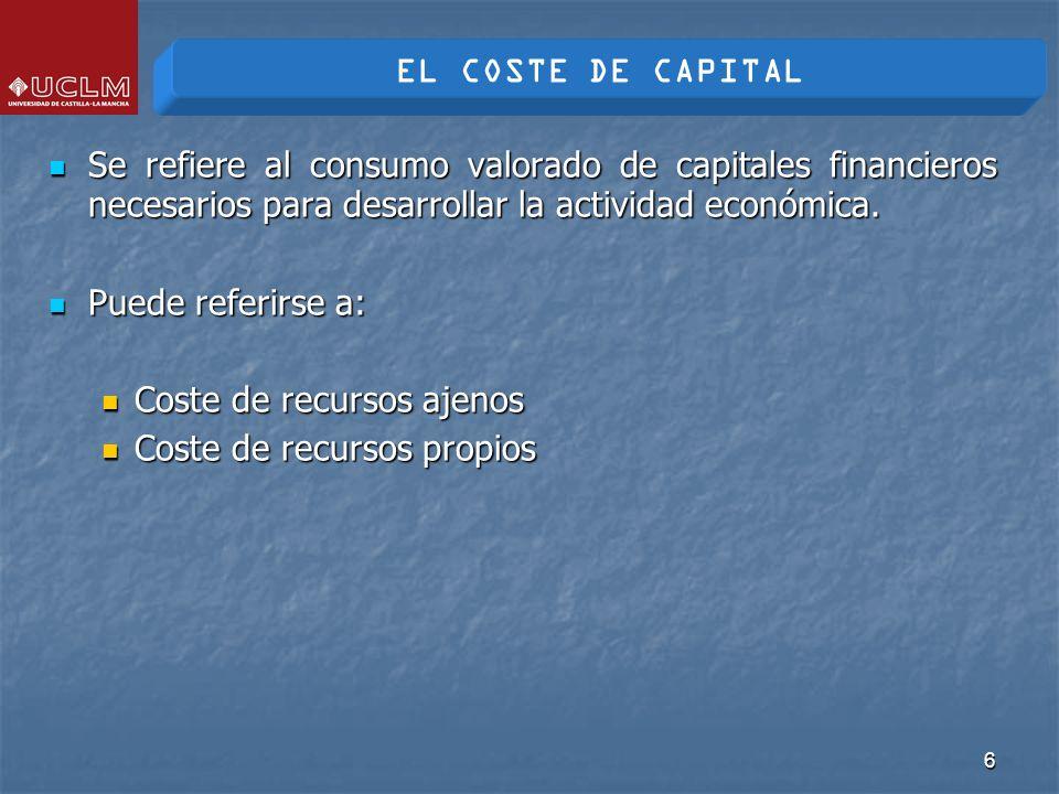 7 En general, el coste de capital se calcula como los valores actualizados de los flujos de cobros y pagos a que da lugar cada fuente de financiación (capital social, empréstitos, préstamos, etc.) que se refiere a un elemento de inversión.