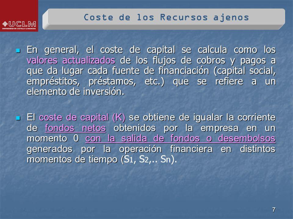 7 En general, el coste de capital se calcula como los valores actualizados de los flujos de cobros y pagos a que da lugar cada fuente de financiación