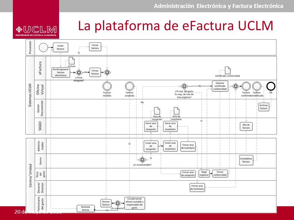La plataforma de eFactura UCLM 20 de mayo de 2010 Administración Electrónica y Factura Electrónica