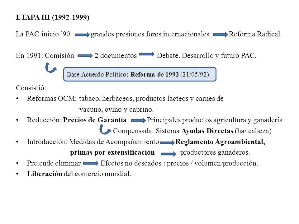 ETAPA III (1992-1999) La PAC inicio ´90 grandes presiones foros internacionales Reforma Radical En 1991: Comisión 2 documentos Debate. Desarrollo y fu