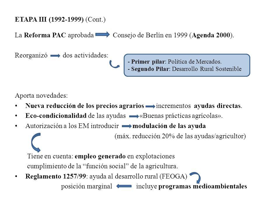 ETAPA III (1992-1999) (Cont.) La Reforma PAC aprobada Consejo de Berlín en 1999 (Agenda 2000). Reorganizó dos actividades: Aporta novedades: Nueva red
