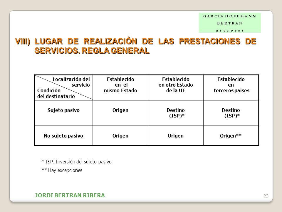 23 VIII)LUGAR DE REALIZACIÓN DE LAS PRESTACIONES DE SERVICIOS. REGLA GENERAL Localización del servicio Condición del destinatario Establecido en el mi