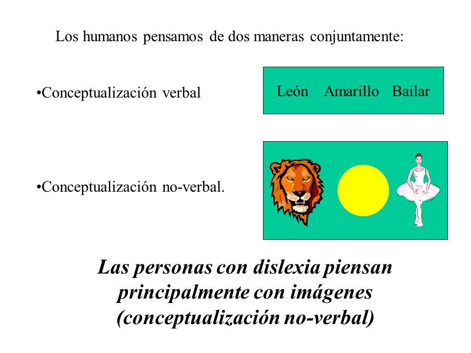 Los humanos pensamos de dos maneras conjuntamente: Conceptualización verbal Conceptualización no-verbal. León Amarillo Bailar Las personas con dislexi