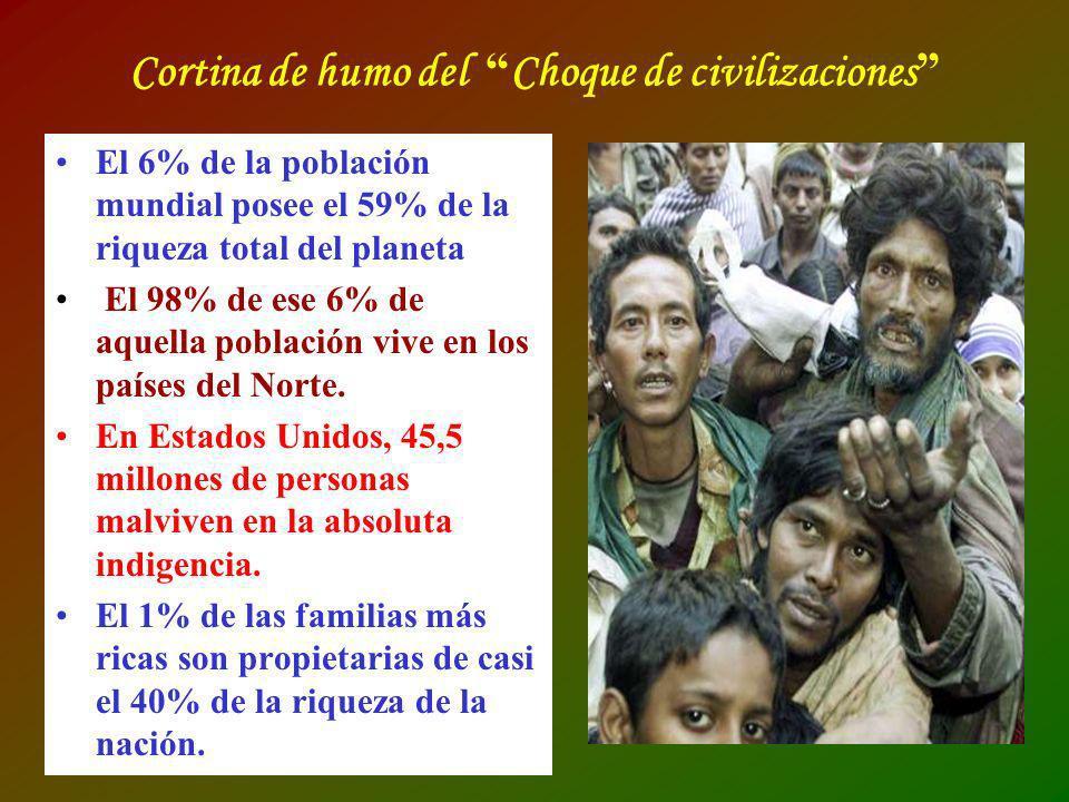 Cortina de humo del Choque de civilizaciones El 6% de la población mundial posee el 59% de la riqueza total del planeta El 98% de ese 6% de aquella po