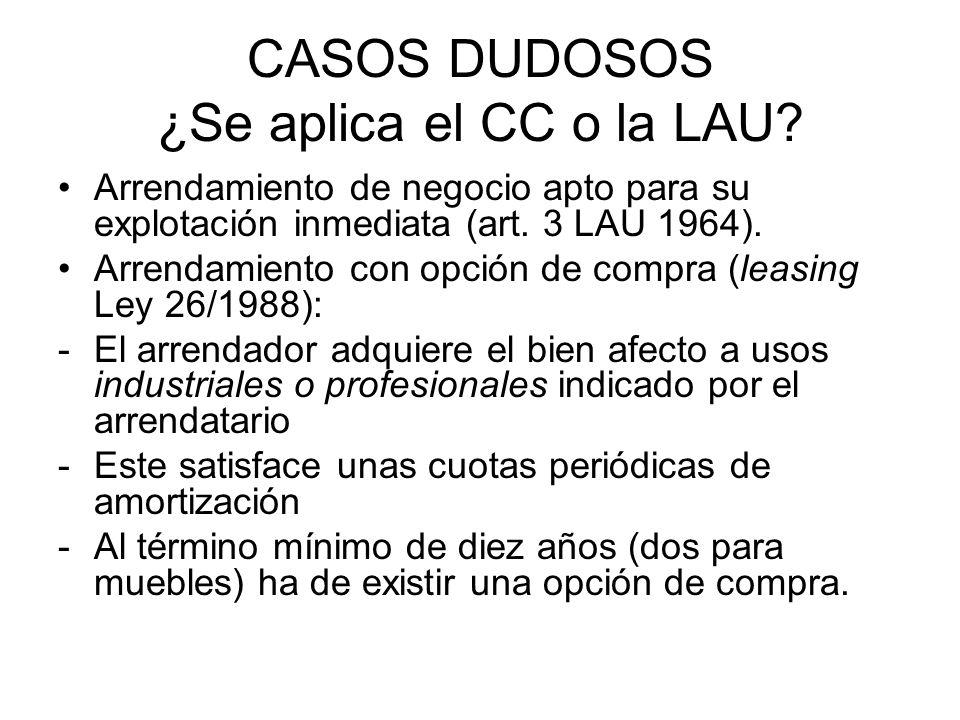CASOS DUDOSOS ¿Se aplica el CC o la LAU? Arrendamiento de negocio apto para su explotación inmediata (art. 3 LAU 1964). Arrendamiento con opción de co