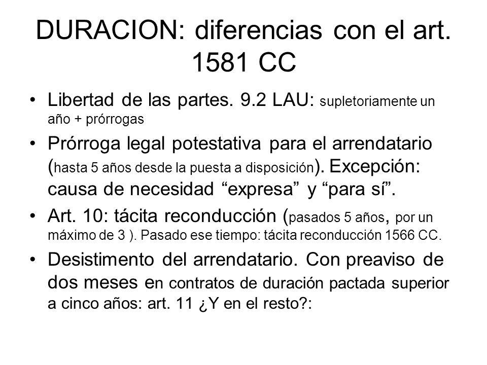 DURACION: diferencias con el art. 1581 CC Libertad de las partes. 9.2 LAU: supletoriamente un año + prórrogas Prórroga legal potestativa para el arren
