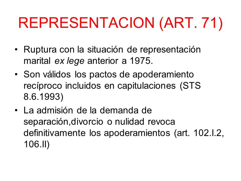REPRESENTACION (ART. 71) Ruptura con la situación de representación marital ex lege anterior a 1975. Son válidos los pactos de apoderamiento recíproco