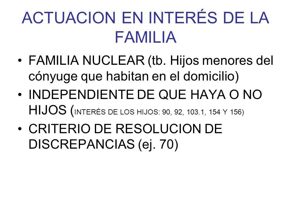 ACTUACION EN INTERÉS DE LA FAMILIA FAMILIA NUCLEAR (tb. Hijos menores del cónyuge que habitan en el domicilio) INDEPENDIENTE DE QUE HAYA O NO HIJOS (