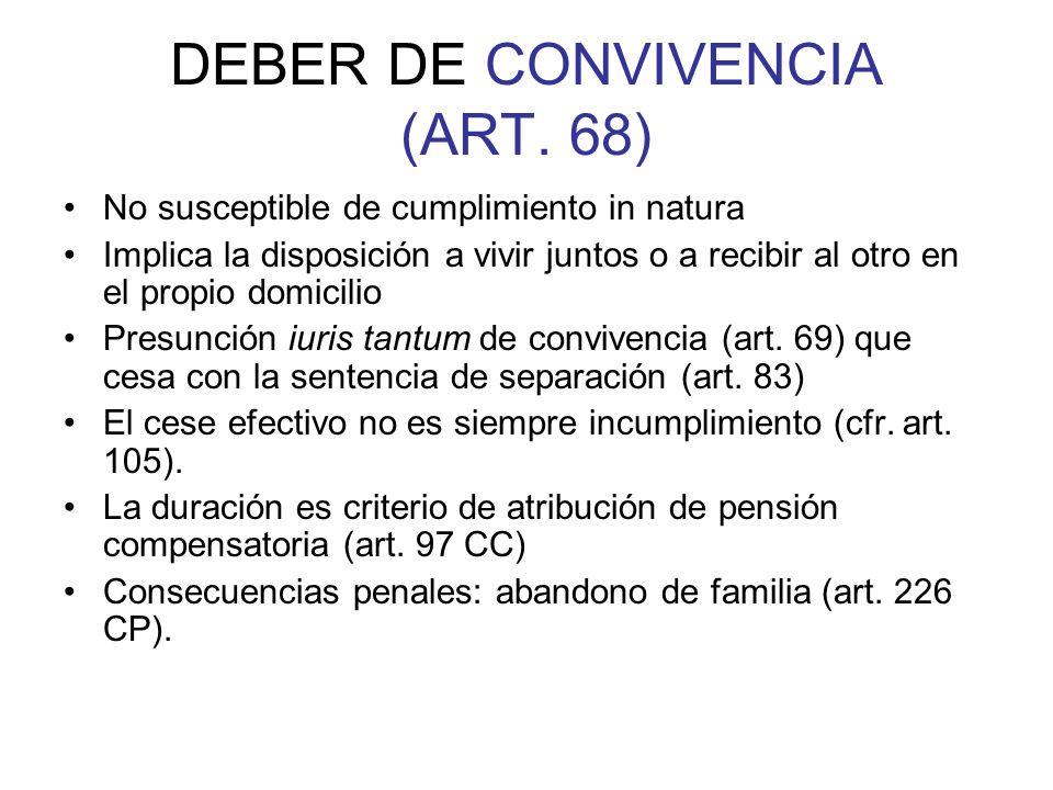 DEBER DE CONVIVENCIA (ART. 68) No susceptible de cumplimiento in natura Implica la disposición a vivir juntos o a recibir al otro en el propio domicil