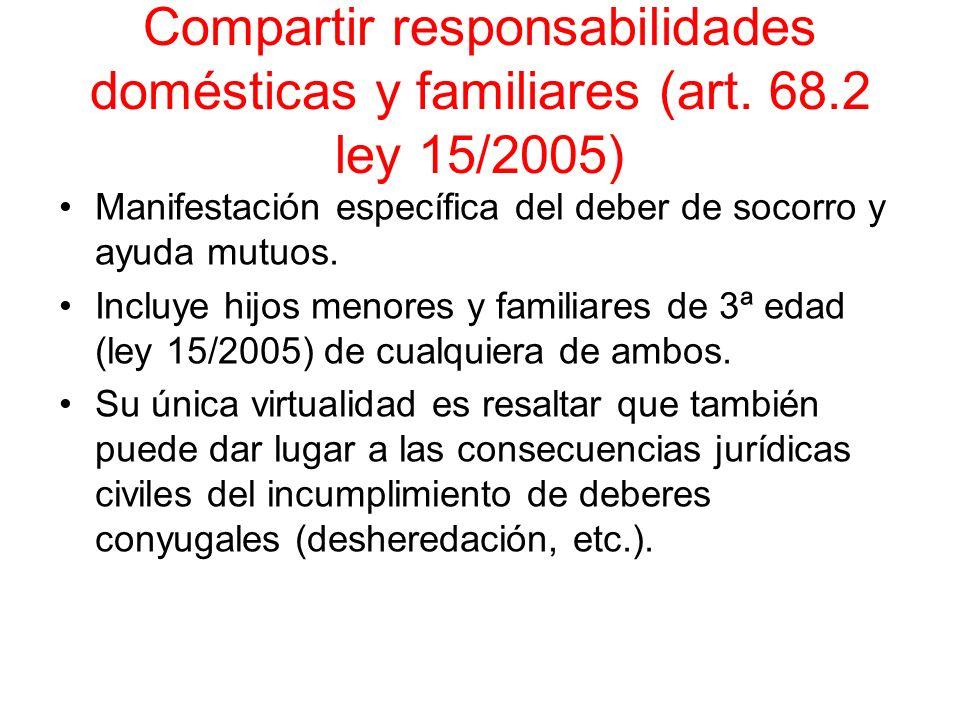 Compartir responsabilidades domésticas y familiares (art. 68.2 ley 15/2005) Manifestación específica del deber de socorro y ayuda mutuos. Incluye hijo
