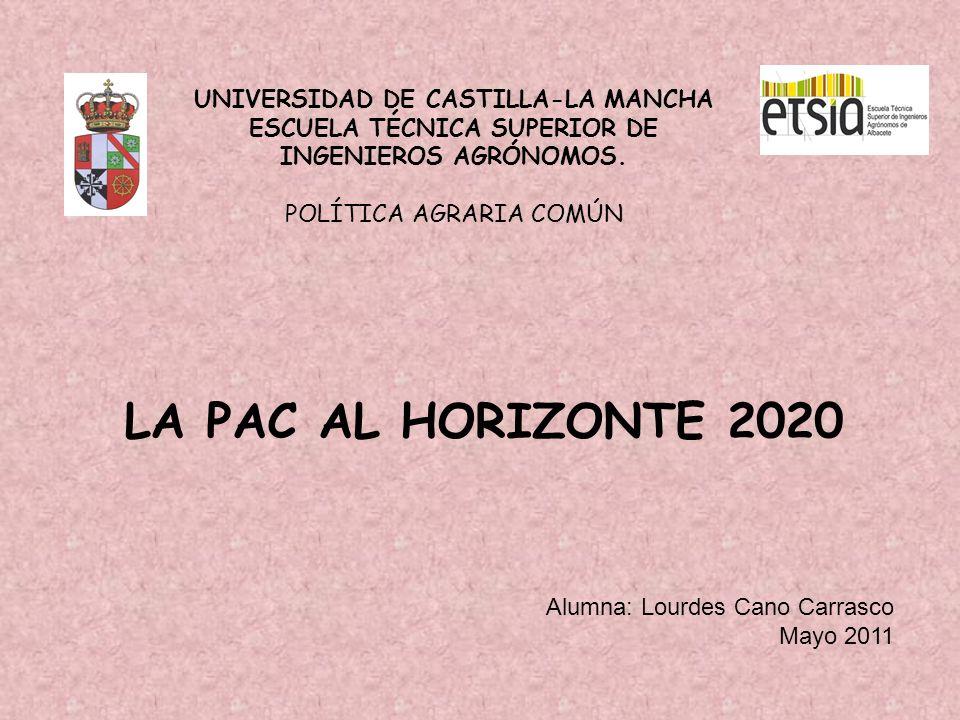 UNIVERSIDAD DE CASTILLA-LA MANCHA ESCUELA TÉCNICA SUPERIOR DE INGENIEROS AGRÓNOMOS. POLÍTICA AGRARIA COMÚN LA PAC AL HORIZONTE 2020 Alumna: Lourdes Ca