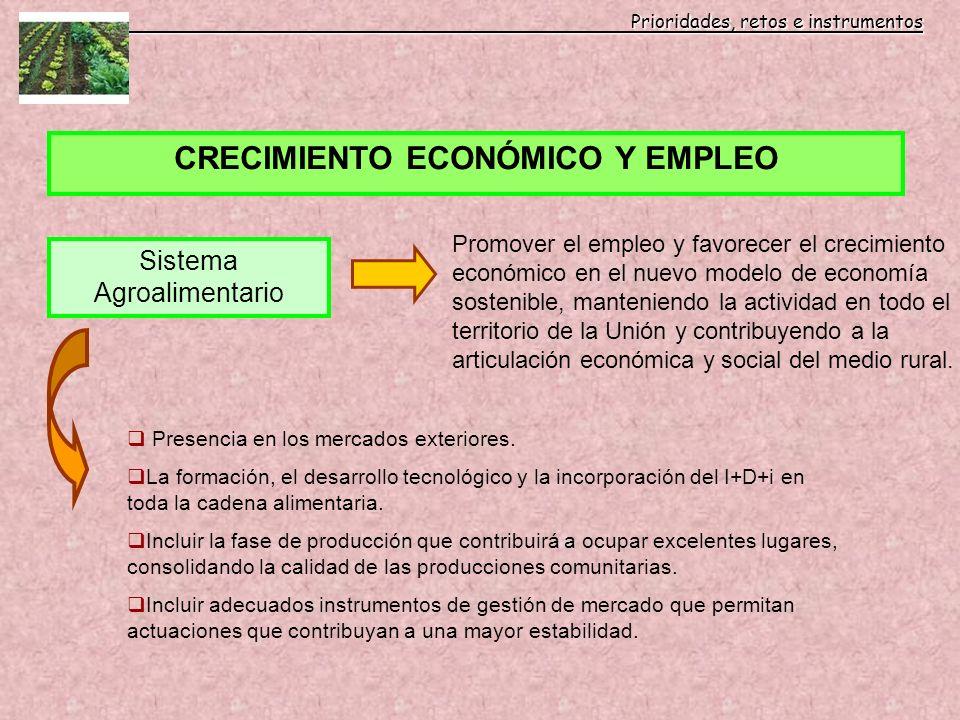 Prioridades, retos e instrumentos Prioridades, retos e instrumentos CRECIMIENTO ECONÓMICO Y EMPLEO Sistema Agroalimentario Promover el empleo y favore