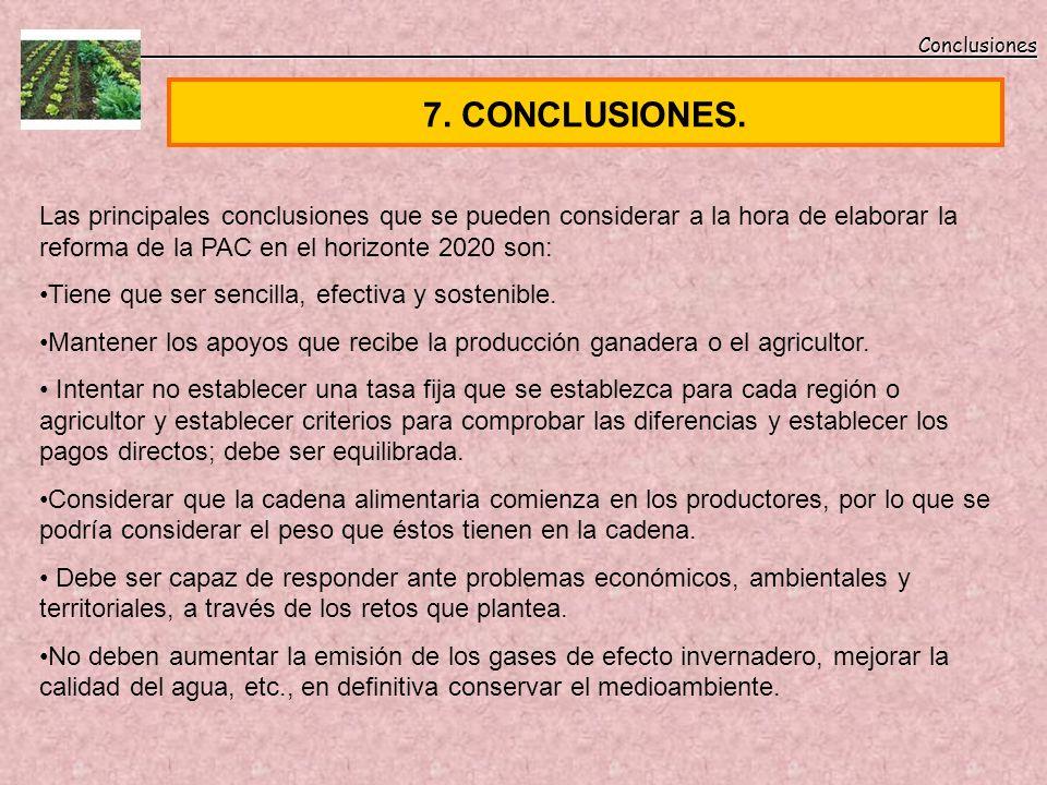 Conclusiones Conclusiones 7. CONCLUSIONES. Las principales conclusiones que se pueden considerar a la hora de elaborar la reforma de la PAC en el hori