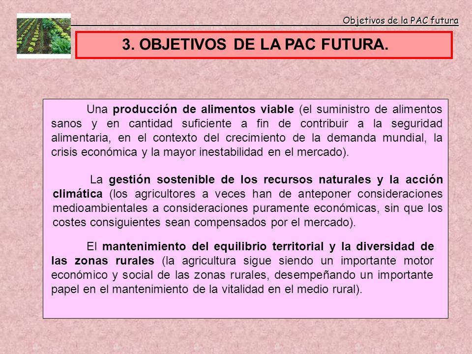 Objetivos de la PAC futura Objetivos de la PAC futura 3. OBJETIVOS DE LA PAC FUTURA. Una producción de alimentos viable (el suministro de alimentos sa