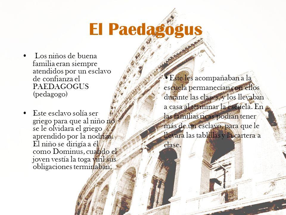 El Paedagogus Los niños de buena familia eran siempre atendidos por un esclavo de confianza el PAEDAGOGUS (pedagogo) Este esclavo solía ser griego par