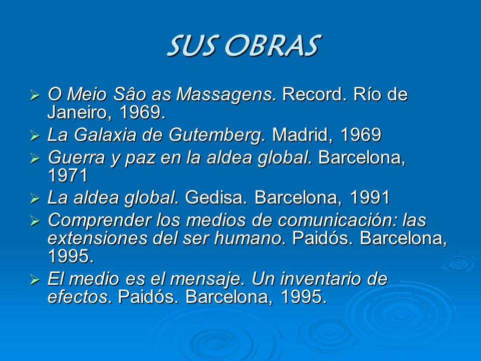 SUS OBRAS O Meio Sâo as Massagens. Record. Río de Janeiro, 1969. O Meio Sâo as Massagens. Record. Río de Janeiro, 1969. La Galaxia de Gutemberg. Madri