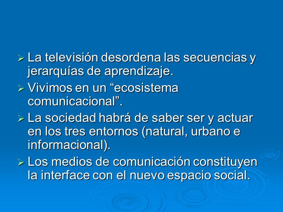 La televisión desordena las secuencias y jerarquías de aprendizaje. La televisión desordena las secuencias y jerarquías de aprendizaje. Vivimos en un