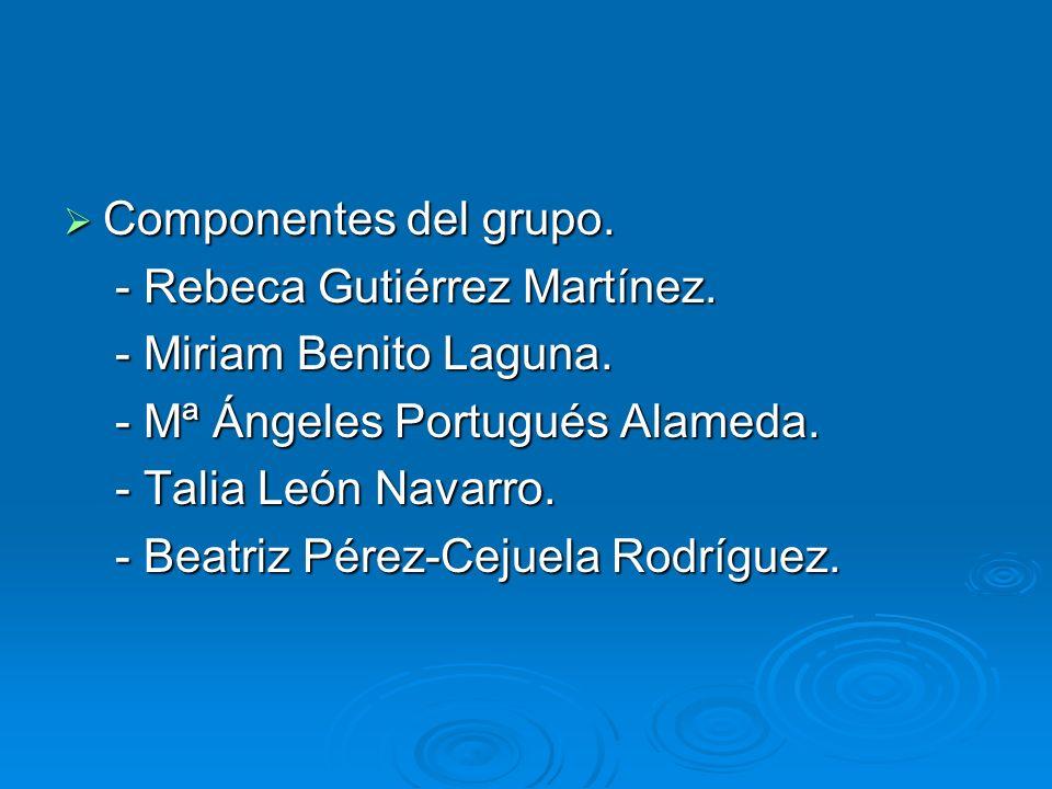 Componentes del grupo. Componentes del grupo. - Rebeca Gutiérrez Martínez. - Rebeca Gutiérrez Martínez. - Miriam Benito Laguna. - Miriam Benito Laguna