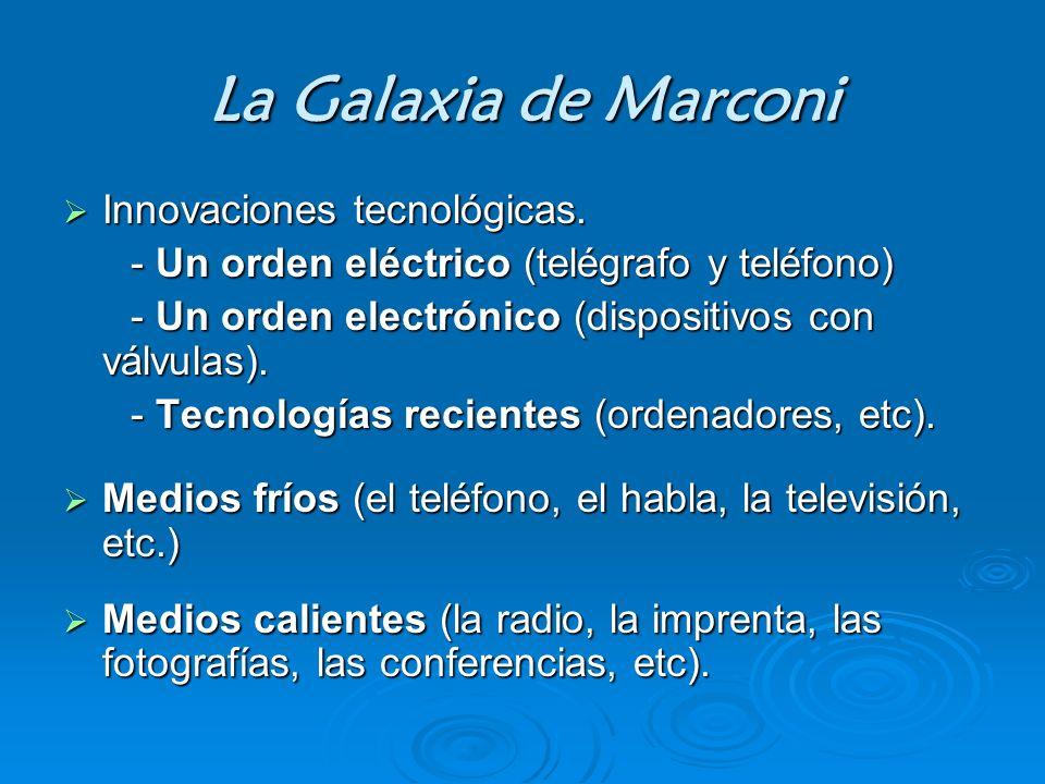 La Galaxia de Marconi Innovaciones tecnológicas. Innovaciones tecnológicas. - Un orden eléctrico (telégrafo y teléfono) - Un orden eléctrico (telégraf