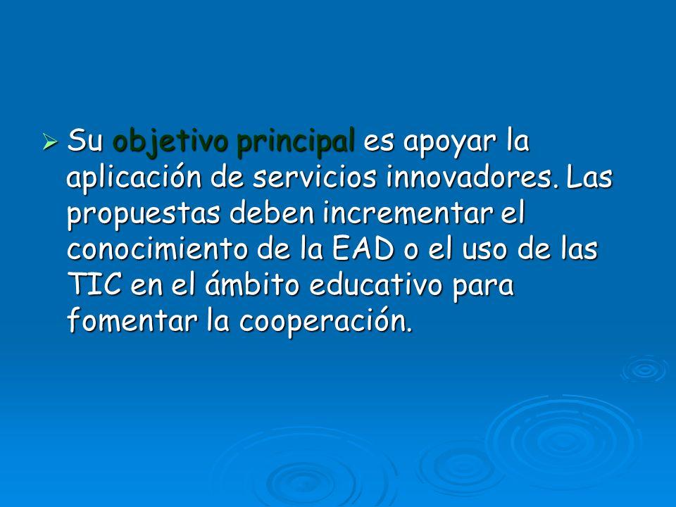 Su objetivo principal es apoyar la aplicación de servicios innovadores. Las propuestas deben incrementar el conocimiento de la EAD o el uso de las TIC
