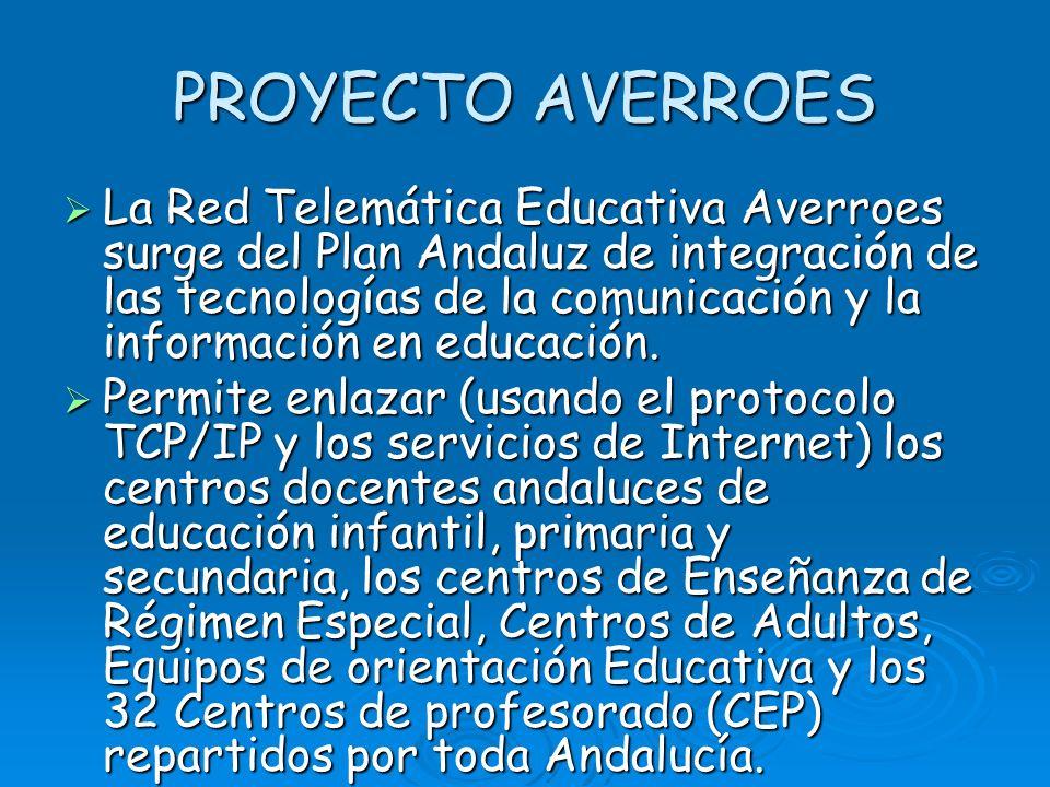 PROYECTO AVERROES La Red Telemática Educativa Averroes surge del Plan Andaluz de integración de las tecnologías de la comunicación y la información en educación.