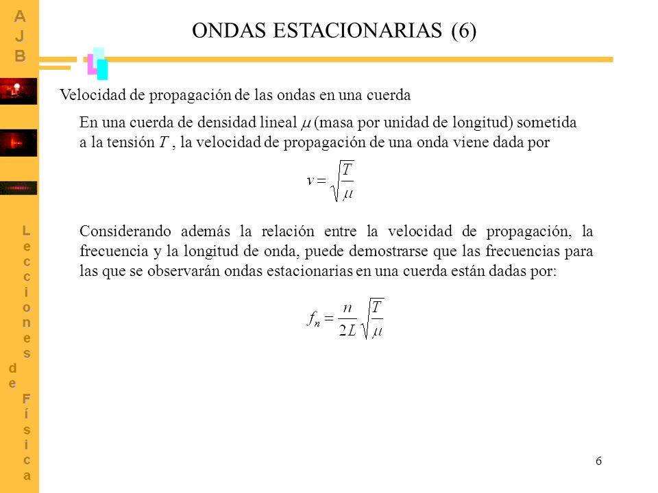 6 ONDAS ESTACIONARIAS (6) Velocidad de propagación de las ondas en una cuerda En una cuerda de densidad lineal (masa por unidad de longitud) sometida