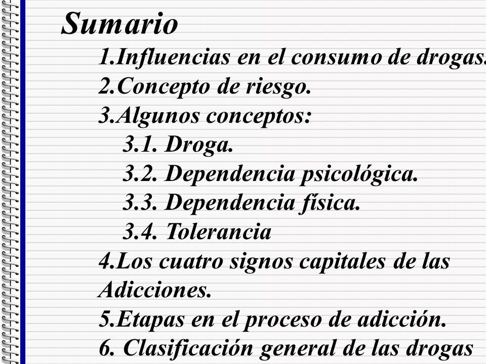 Sumario 1.Influencias en el consumo de drogas. 2.Concepto de riesgo. 3.Algunos conceptos: 3.1. Droga. 3.2. Dependencia psicológica. 3.3. Dependencia f