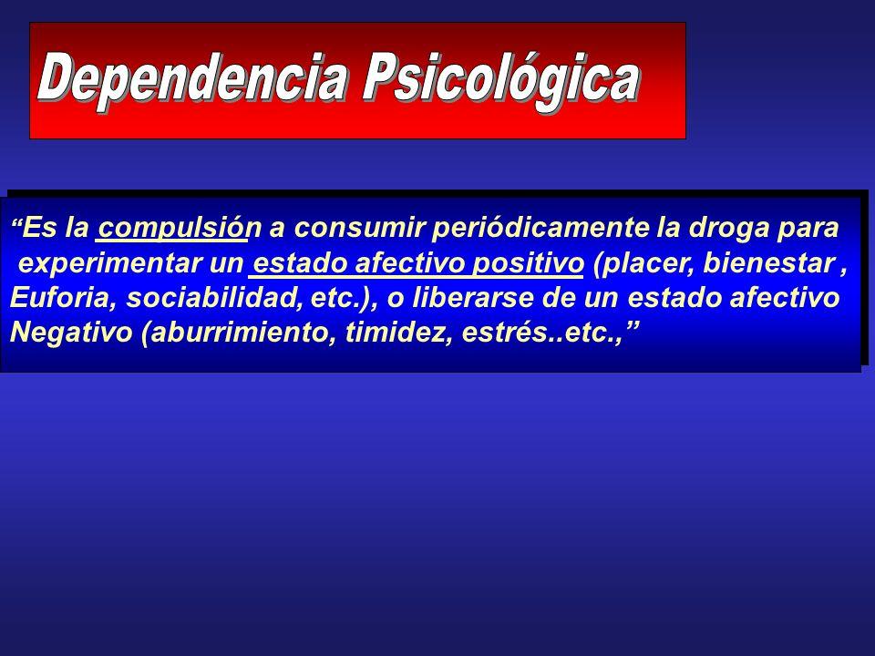 Es la compulsión a consumir periódicamente la droga para experimentar un estado afectivo positivo (placer, bienestar, Euforia, sociabilidad, etc.), o