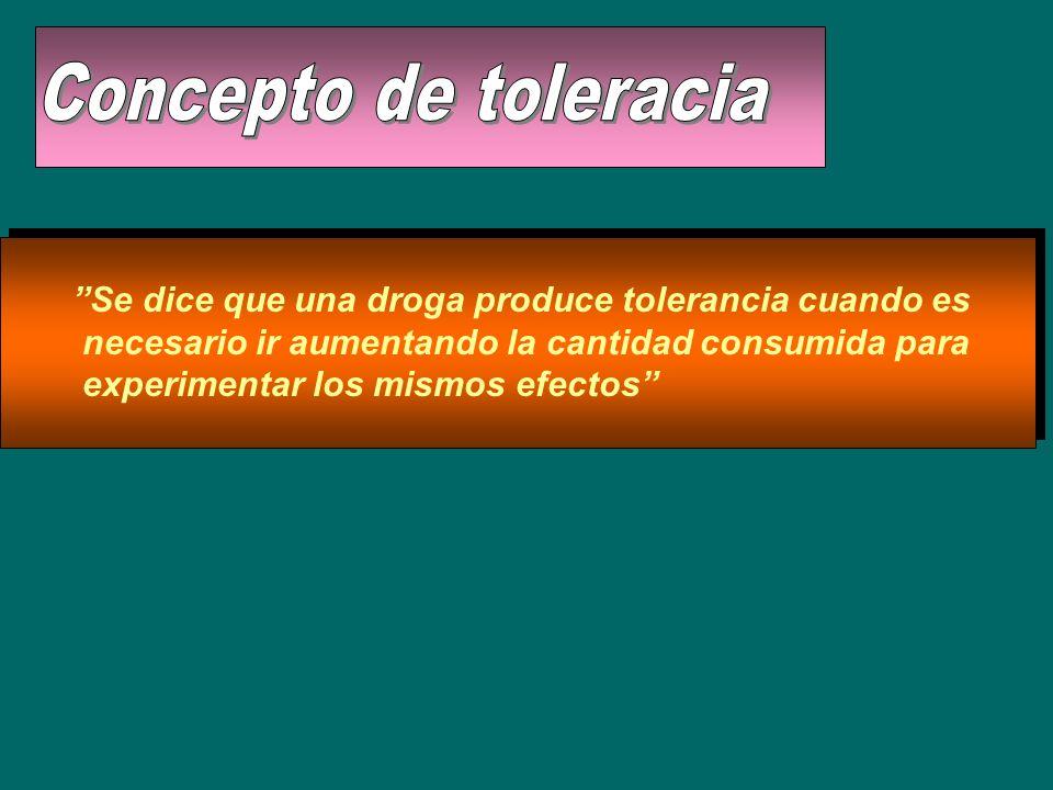 Se dice que una droga produce tolerancia cuando es necesario ir aumentando la cantidad consumida para experimentar los mismos efectos
